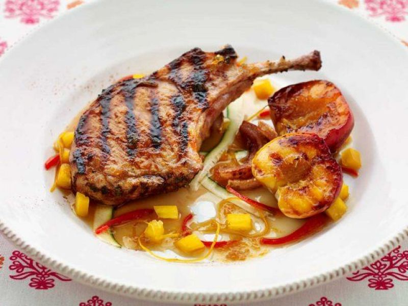 BBQ Maple Pork Cutlet with Grilled Peach Salad