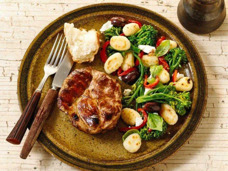 BBQ Pork Steak with Italian Brocollini Salad