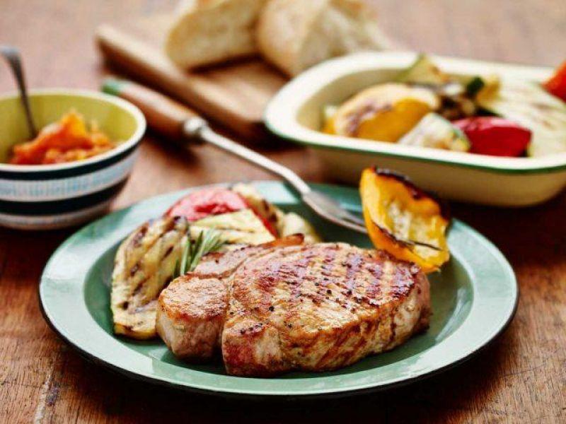 BBQ Pork Loin Steak with BBQ Vegetable Salad and Tomato Chutney