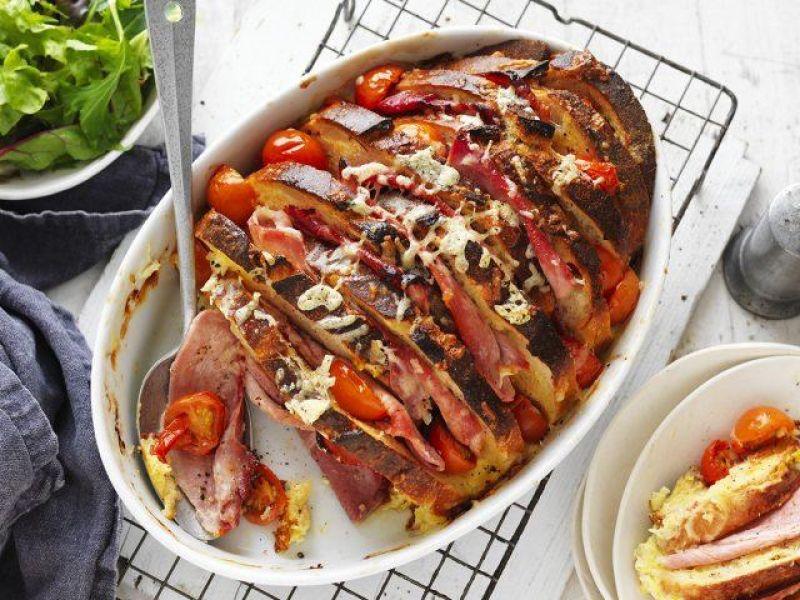 Ham, Cheese & Tomato Bread & Butter Pudding