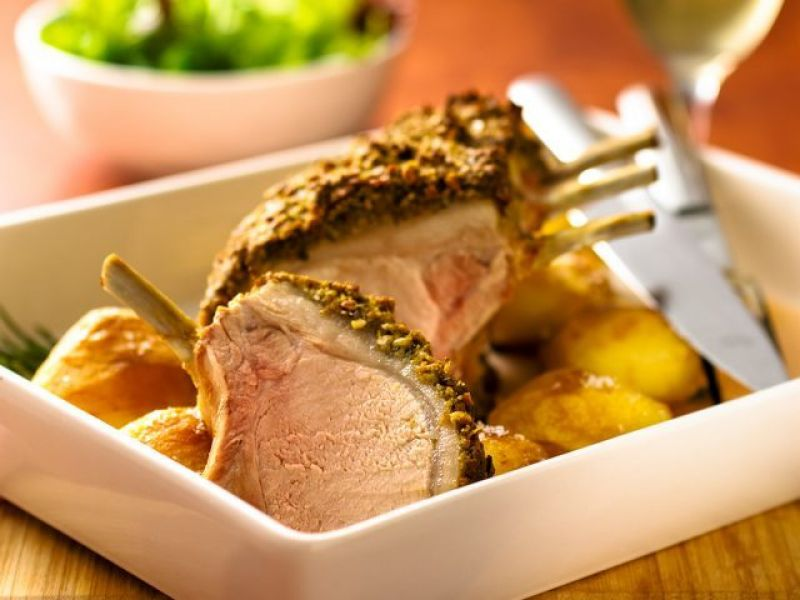Pesto Crusted Roasted Pork Rack