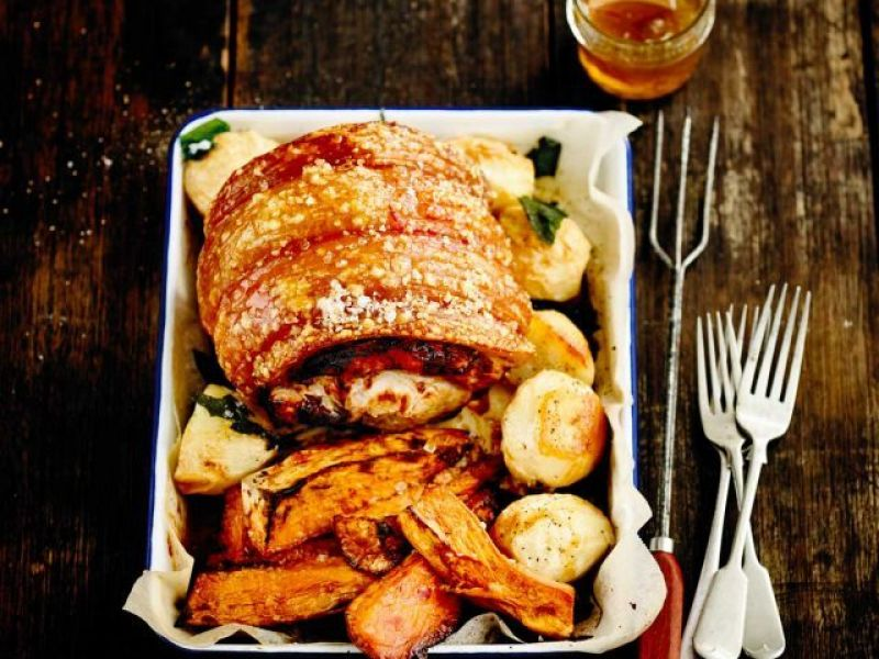 Roast Pork Leg with Crackling and Roasted Vegetables