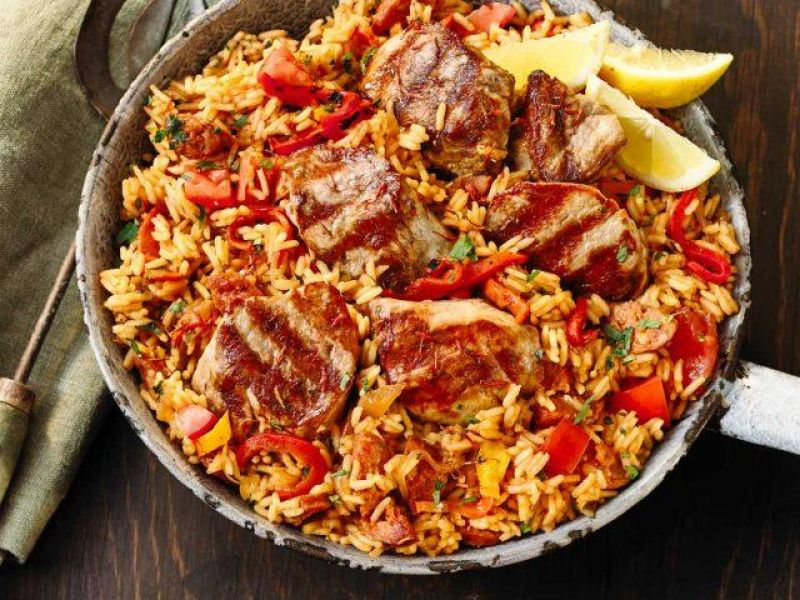 Grilled Pork Fillet Medallions with Spanish Rice