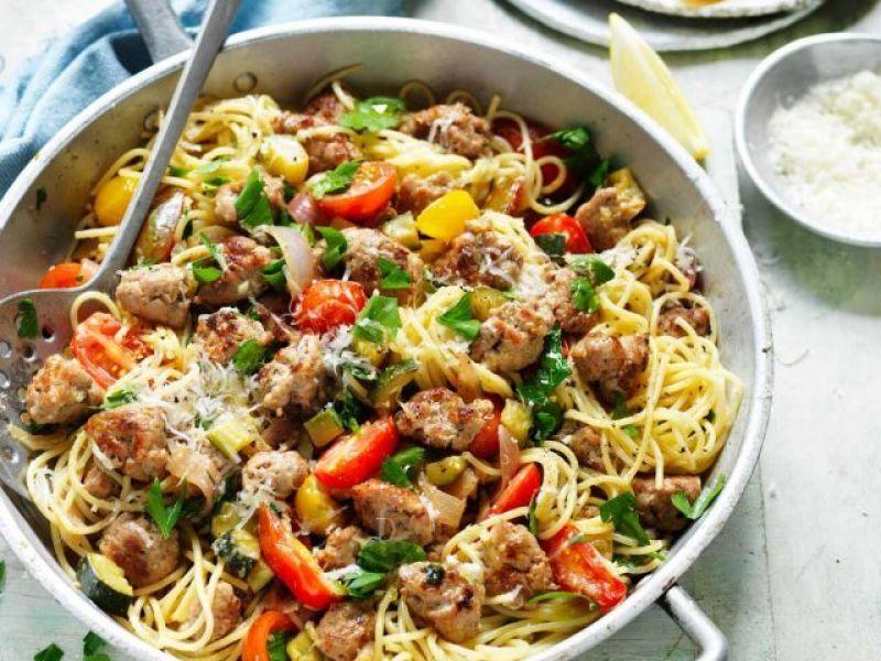 Pork Sausage, Zucchini & Tomato Spaghetti